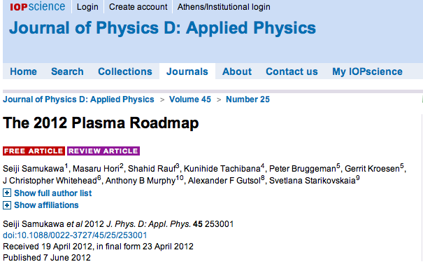 Plasma Road Map Defines State of Field of Plasma Research